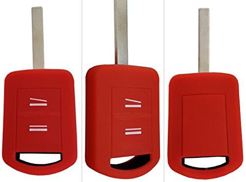 CK+ Opel Auto-Schlüssel Hülle Key Cover Case Etui Silikon für Astra Corsa C Meriva A Zafira Tigra B Vectra Signum Omega - Rot