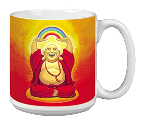 Buddha Extra Large Mug, 20-Ounce Ceramic Coffee Mug Cup, Buddha Laughing Themed Zen Art - New Age Inspirational Gifts Tree-Free Greetings