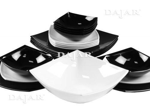 Platos Arcopal cuadrados blanco/negro, 18 unidades - Luminarc