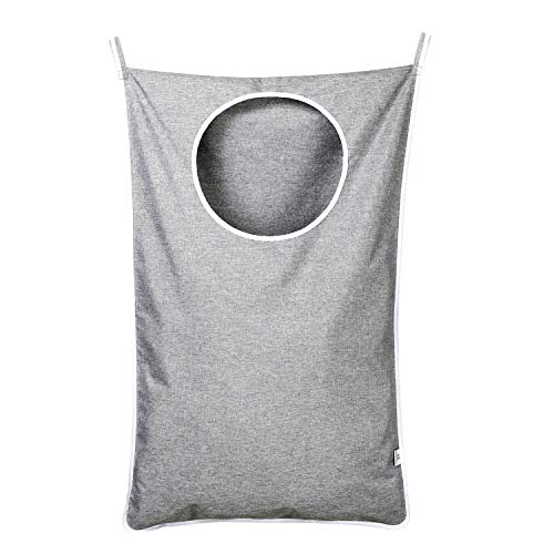 KEEPJOY Hanging Laundry Hamper Bag with Free Adjustable Stainless Steel Door 2 PCs Suction Cup Hooks Best Choice for Holding Dirty Clothes and Saving Space Grey
