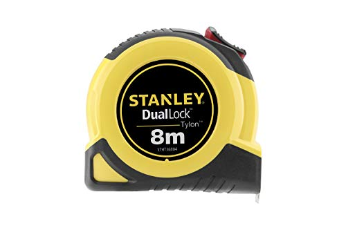 Stanley STHT36804-0 Bandmass DualLock Tylon (5 m Länge, 25 mm Breite, Genauigkeitsklasse II, zweiteilige Bandbremse, schlagfestes und bruchsicheres Gehäuse), gelb/schwarz