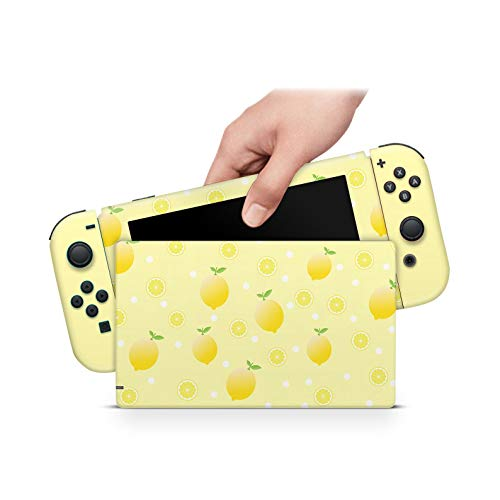 ZOOMHITSKINS Yellow Lemons Juice Fruits Leaf Lime Citrus Golden Gloss Kawaii Anime Cute High Quality 3M Vinyl Decal Sticker Wrap, Nintendo Switch Compatible, Made in the USA