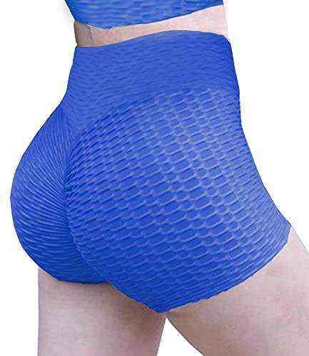 DUROFIT Pantalones Cortos Deportivos Mujer Yoga Pantalones Deportivos Pantalón de Elásticos Short Pants Pantalones Cortos de Yoga para Mujer Cintura Alta Fitness S Azul