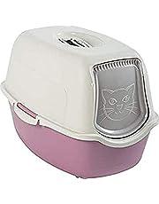 Rotho Bailey, Caja de arena con capucha y solapa, Plástico PP sin BPA, malva, blanco, 56.0 x 40.0 x 39.0 cm