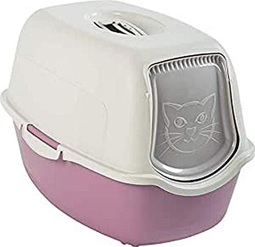 Rotho Bailey Katzenklo mit Haube und Klappe, Kunststoff (PP) BPA-frei, mauve/weiss, 56,0 x 40,0 x 39,0 cm