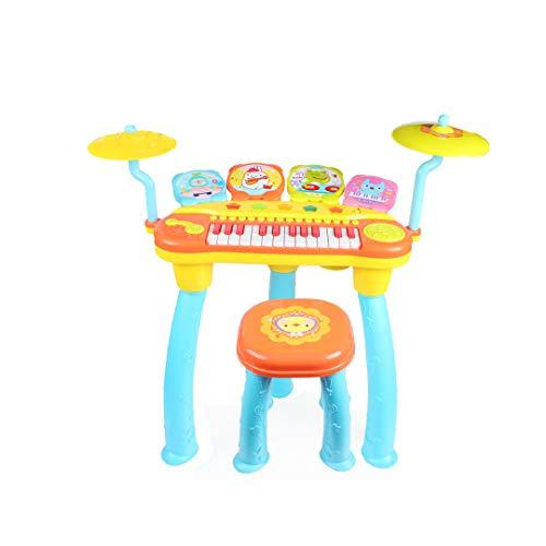 MKJYDM Rock Drum Musique Piano Drum Combinaison Éducation Précoce Intelligence Électrique Enfants Jouet Musical 66.5x65x31.5cm Jouets intelligents pour Enfants (Color : Blue)