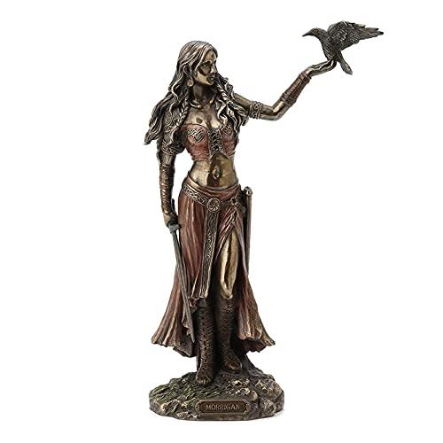 woyada Estatuas de resina de la diosa de la batalla, Morrigan La diosa celta de la batalla con cuervo y espada acabado en bronce estatua de 15 cm para regalos de Ofeece