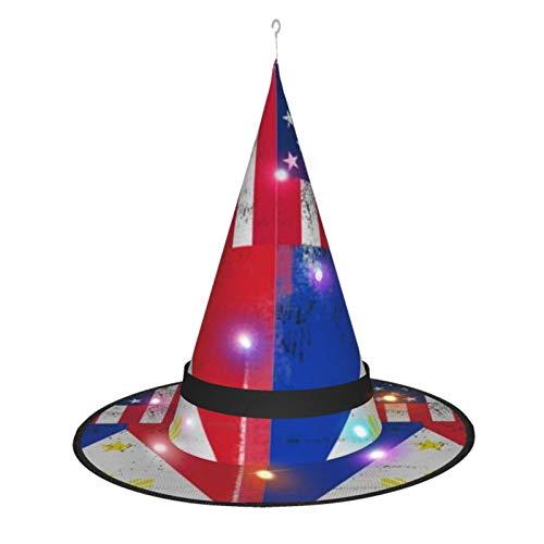 MXDISIWD - Sombrero de bruja de Halloween con bandera filipina de Amrica filipina con disfraz de bruja ligera para fiesta de Halloween