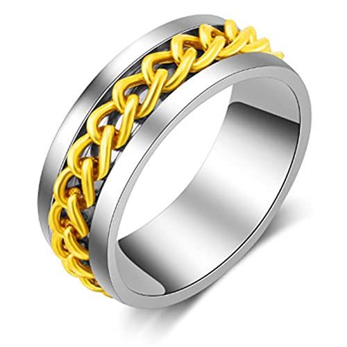 ZIYUYANG anillo de acero inoxidable con textura de neumático para hombre negro fresco de 5 colores 9 oro