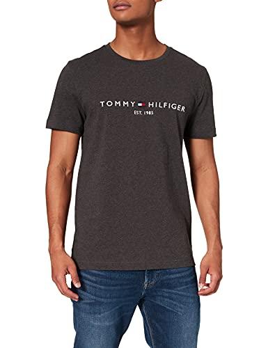 Tommy Hilfiger Organic Cotton Logo T-Shirt Camiseta, Gris Oscuro Heather, L para...