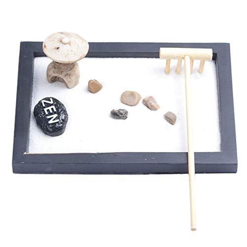 AYUN Japonais Mini Zen Table de Jardin 1pc Sable + résine avec Rattle Cailloux et Sable Décoration