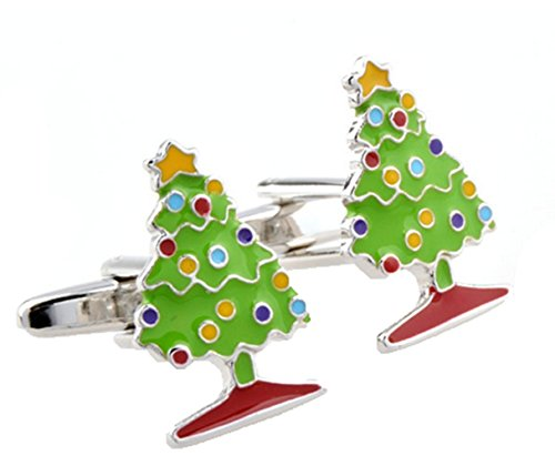 Gudeke Christmas Tree Cufflinks Arbre de Noël Boutons de manchette (Vert clair)