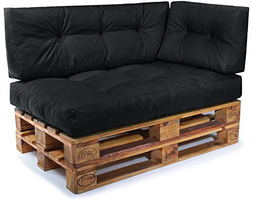 Easysitz Palettenkissen Set Palettensofa Palettenpolster Palettenauflagen Sofa Kissen Indoor Outdoor Gesteppt für 120 x 80 cm Europaletten (Set 3: Sitzkissen + Rückenkissen + Seitenkissen - Schwarz)