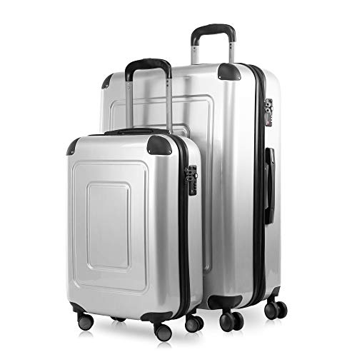 Happy Trolley - 2er Koffer-Set Trolley-Set Rollkoffer Hartschalen-Koffer Reisekoffer Lugano sehr leicht, TSA, (S+XL), Silber