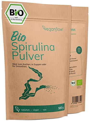 veganflow® Spirulina Pulver Bio 500g, laborgeprüftes und reines Spirulina-Powder aus dem Pazifik, vegan