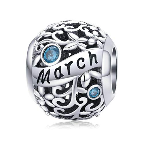 Women September October Birthstone Charm Beads 925 Sterling Silver Charms Happy Birthday 12 Birthstone Charms fit for Pandora Bracelets (March Birthstone Charm)