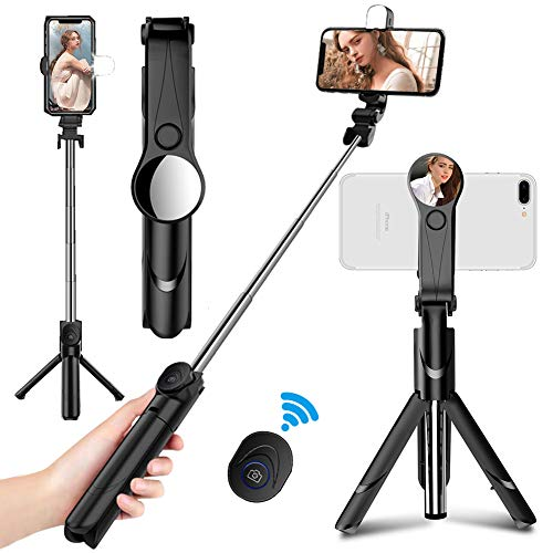 ANTOPM Bluetooth Selfie-Stick Stativ mit Fernbedienung+Fülllicht, Selfie Stick Stativ Erweiterbar Monopod Wireless Multi-Angle-Rotation für iPhone Android Samsung 3,5-6 Zoll Smartphones