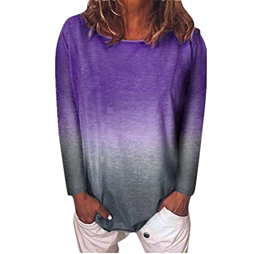 Tops Mujer Cómodo Elegante Primavera Verano Cuello Redondo Manga Larga Mujer Camiseta Elegante Empalme Diseño Ocio Diario Suelta Mujer Blusa B-Purple 3XL