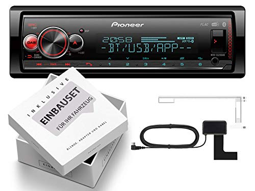 Pioneer MVH-S520DAB 1-DIN autoradio incl. DAB-antenne met Bluetooth geschikt voor Renault Megane 2 MB/cm/KM/LM/EM 2003-2009 zwart