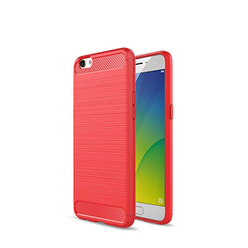 Kompatibel mit Oppo R9s R9s Plus/F3 Plus Hülle Carbon Fiber Textur Tasche Schutzhülle Ultra Dünn Slim Silikon Soft Flexibel TPU Cover Cases Stoßdämpfung Handyhülle (R9s Plus/F3 Plus, Rot)