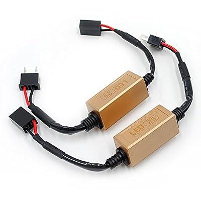 WERISE 2 x Car LED Headlight Canbus Error Free Computer Warning Canceller Resistor Decoders Anti Flicker Plug & Play