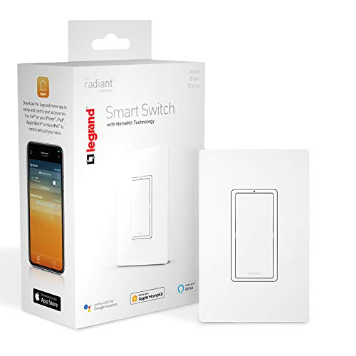 Legrand Smart Light Switch - Works With Apple Homekit - Compatible With Alexa & Google Assistant After Setup On iOS Device - Connects To Home WiFi - No Hub Required - HKRL10