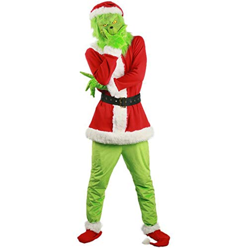 JXBH Disfraz de Navidad,Disfraz de Santa de Grinch Sombrero de Navidad Verde Divertido,Traje de Santa para Adulto Peludo (L)