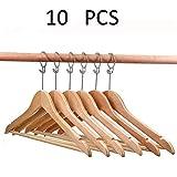 JTKDL 10 Stück The Great Hanger Company Naturholz-Kleiderbügel mit geschlossener Schlaufe und Diebstahlsicherung for Hotels und Gastgewerbe
