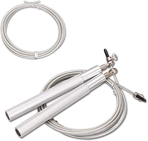 ボディービルのための調節可能な長さの縄跳びロープ, の動きをスキップ子供大人ユニバーサル ,アルミ合金ハンドル付きハイス鋼線スキップロープ,2つのロープ (シルバー)