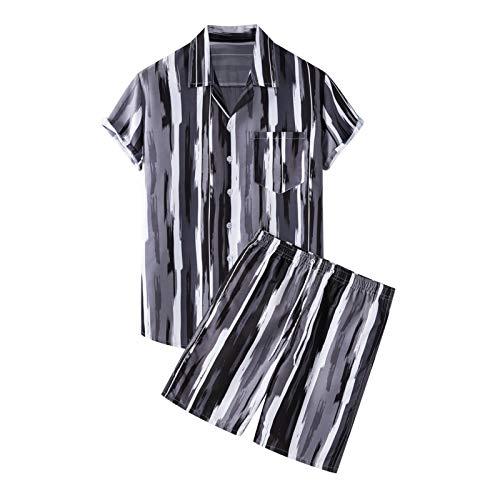 Men's Printed Shirts Summer Holiday Beach&Shorts Flower Casual Button Down Short Sleeve Hawaiian Shirt Suits Pants Sets