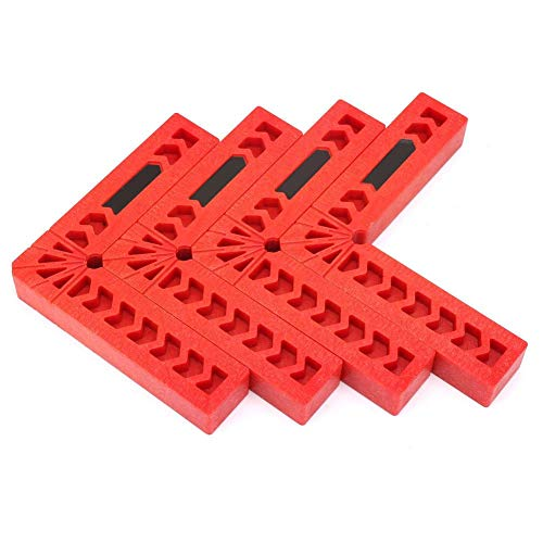 90-Grad-Positionierungsklemme L-Typ Winkelklemmen Holzbearbeitungswerkzeug Hilfssuchgerät Kunststoff Vierkantlineal Winkelhalter für Tischler, Heimwerker(4inch)