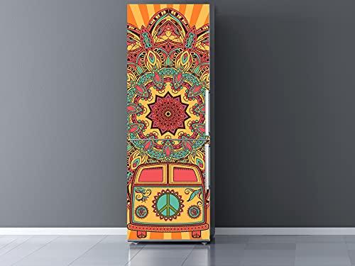 Oedim Vinilo Frigorífico Furgoneta Hippie con Mandala Variocolor, Vinilo Decorativo para neveras, decoración para cocinas, Pegatina Nevera