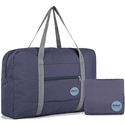 WANDF Foldable Travel Duffel Bag Luggage Sports Gym Water Resistant Nylon (Navy Blue 25L.)