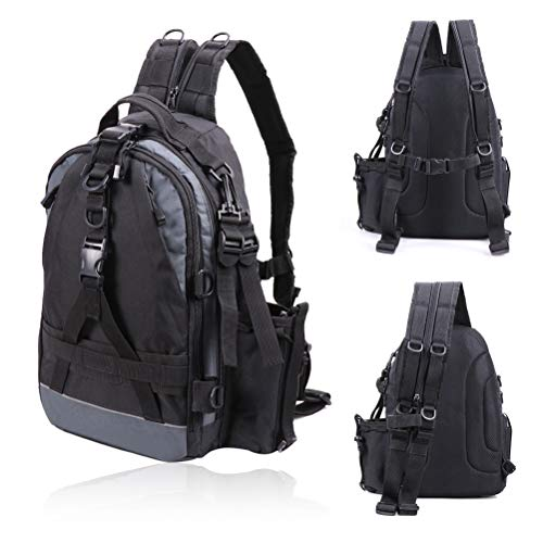 Amitfo Fishing Backpack Tackle Bag with Rod Holder Tackle Box Bag Outdoor Shoulder Backpack Large Fishing Gear Backpack