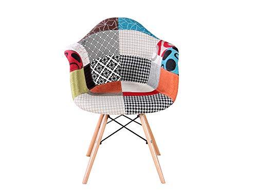 sweethome Set mit 2 Stühlen für Esszimmerstühle, Bürostuhl mit Armlehnen, Küchenstuhl, Leinen, gepolstert, Farben, nordisches Design, Holzbeine, Patchwork, Rot