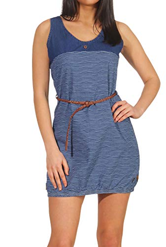 alife and Kickin DOJA D Dress Damen Sommerkleid, Jerseykleid, Strandkleid, Kleid, Dark Denim Stripes, L