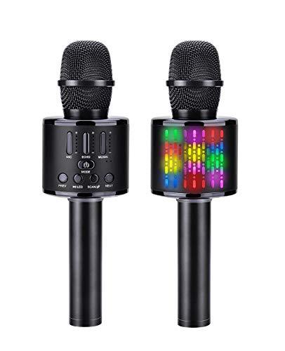 ShinePick Microfono Karaoke per Bambini, 5 in 1 Bluetooth Wireless LED Flash Microfono Portatile con Altoparlante, KTV Karaoke Player per Cantare, Funzione Eco, per iPhone Android iPad, PC Smartphone