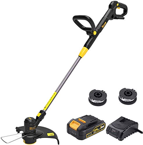 Buy Discount TECCPO String Trimmer, 20V 2Ah Lithium Ion, 2 26ft Nylon Thread Spool, Automatic Feed S...