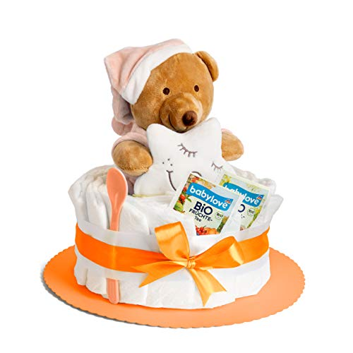 Windeltorte in Orange mit Kuscheltier, perfekt als Geschenk zur Baby-Party oder Gebur