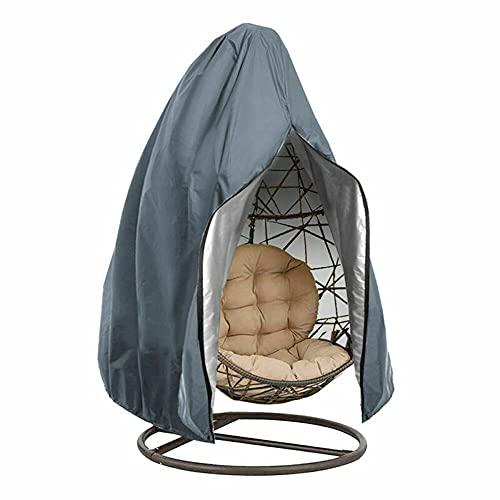 Gartenstuhl-Abdeckung, Terrassenstühle, wasserdicht, UV-Schutz, Schaukelstuhl-Abdeckung mit Reißverschluss, für Outdoor-Eierstuhl, Schaukelstuhl, Rattan-Möbel (grau, 115 x 190 cm)