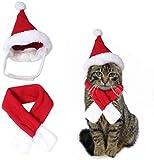 edealing Traje de Disfraz de Navidad de Santa Hat & Scarf Xmas Rojo Viste para el Accesorio de Moda de Cats de Pet Dog (Talla de Cuello M-Fit Dentro de 12.5')