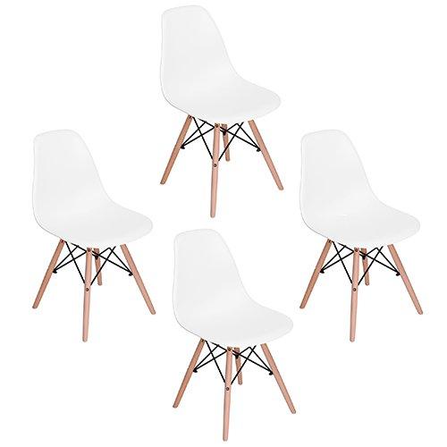 EGGREE Lot de 4 Chaises Ajourée Scandinave Chaise Salle a Manger Chaise de Cuisine, Blanc