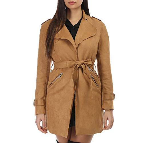 La Modeuse – Chaqueta larga de piel sintética de ante con cinturón para atar marrón claro L