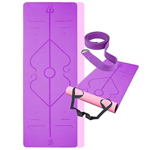 BUDDYGO Esterilla Yoga Antideslizante Colchonetas de Yoga Esterilla Pilates Esterilla Deporte Profesional para Fitness Pilates y Yoga - con Correa de Hombro 183cm x 61cm