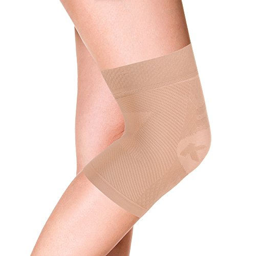 OrthoSleeve KS7 Compression Knee Sleeve for Knee Pain Relief, Aching Knees, patellar tendonitis and Arthritis Relief (Large, Single, Natural)