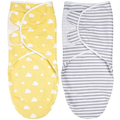 Pucksack Baby 0-3 Monate Baby Decke Pucktücher für Babys, 2er Pack Verstellbare Baby Schlafsack Neugeborene Swaddle Decke 100% Bio-Baumwolle Mit Klettverschluss Unisex (C, S)