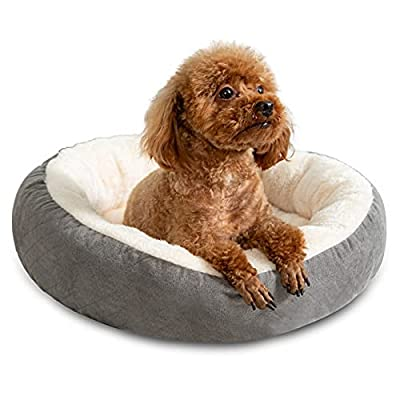 Tail Stories Round Donut Cat and Dog Cushion Bed, Cat Beds for Indoor Cats, Machine Washable Luxury Dog Bed, Anti-Slip & Water-Resistant Bottom, Super Soft Durable Fabric Pet Bed, Light Grey