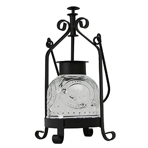Lámpara de cristaleno de hierro viejo vintage, tapa de cristal de la luz de velas romántica Linterna de mesa, decoración de mesa linternas impermeables aceite de lamparas Buddha (Color : Black)