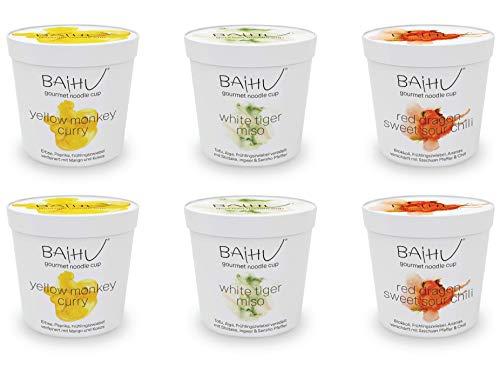 BAIHU Instant Nudeln | vegetarisch | vegan | schnelle Zubereitung (Baihu Mix Box / 2 Noodle Cups pro Sorte, 6 Stück, 6 Cups) 2x147g, 4x152g