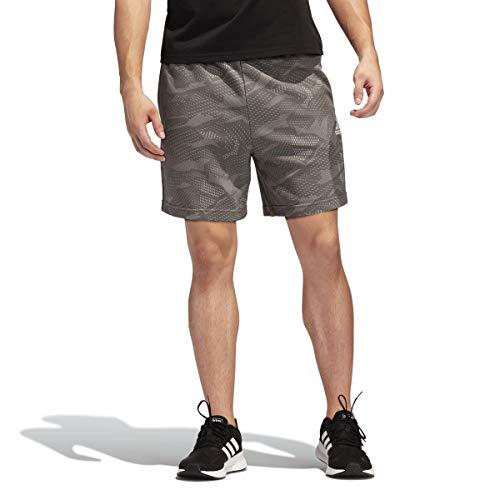 adidas Pantalones Cortos de impresión para Hombre Essentials, Hombre, Pantalones Cortos, IXW38, Gris sólido/Blanco, XS